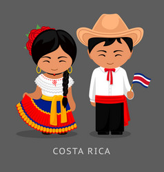 costa ricans in national dress with a flag vector image