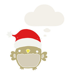Cute christmas owl and thought bubble in retro vector