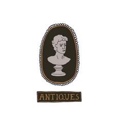 Dark academia concept antique bust vector