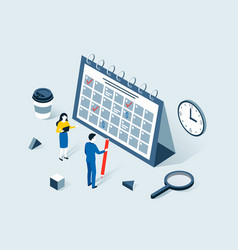 deadline time planning isometric concept vector image