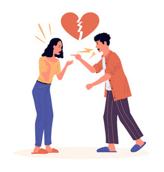 Divorce cartoon couple dissolution quarrel vector