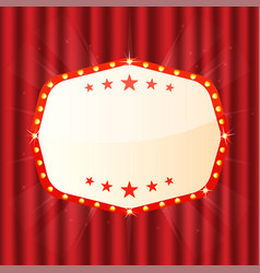 Empty sign on red curtain cinema theatre casino vector