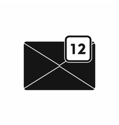 Envelope with 12 messages icon simple style vector image