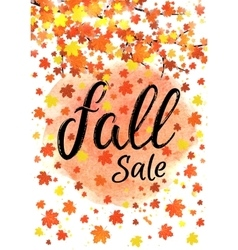 Fall sale lettering banner Seasonal discount vector