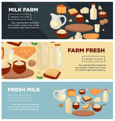 farm of fresh milk promotional indernet banners vector image