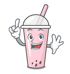 Finger raspberry bubble tea character cartoon vector