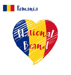 flag heart of romania national brand vector image