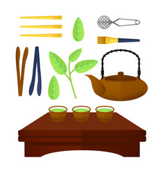 Flat chinese tea elements set vector