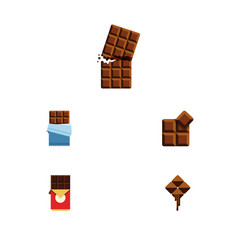 Flat icon chocolate set of bitter chocolate bar vector