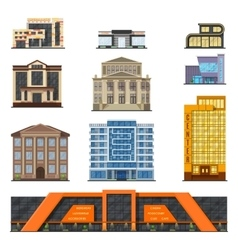 flat style modern classic municipal buildings vector image