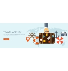Flat travel background Map vector image