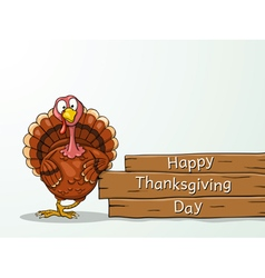 Funny cartoon thanksgiving turkey vector