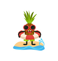 Funny pineapple in sunglasses standing on the vector