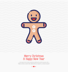 gingerbread man thin line icon vector image