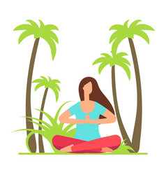 girl meditation yoga on nature palm tree and vector image