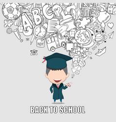 Graduated boy pupils back of school background vector