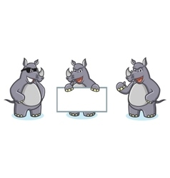 Gray rhino mascot happy vector