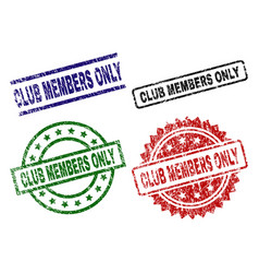 grunge textured club members only seal stamps vector image