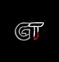 Grunge white red black alphabet letter gt g t vector