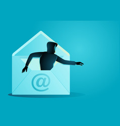 hacker comes out from envelope vector image