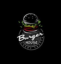 hand drawn burger logo on black background vector image