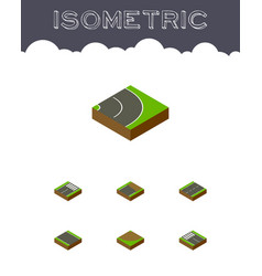 Isometric road set of turn cracks unfinished and vector