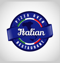 italian blue pizza emblem logo sign symbol icon vector image