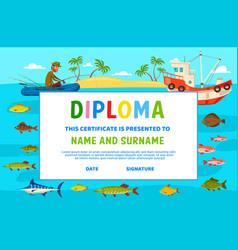 Kids diploma education school certificate vector