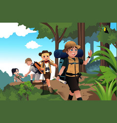 Kids on an adventure trip vector