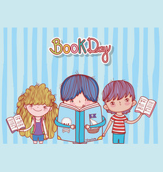 little boy with book pirates and kids open books vector image