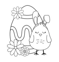 little chick with ears rabbit and egg painted vector image