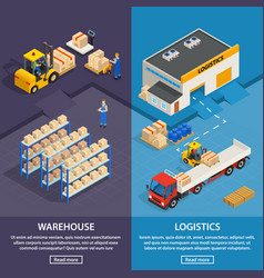 Logistics and warehouse vertical banners vector