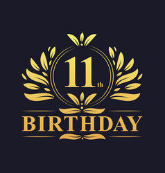 Luxury 11th birthday logo 11 years celebration vector