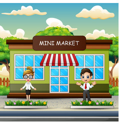 Man and women working at mini market vector