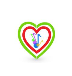 music notes and hearts logo symbol vector image