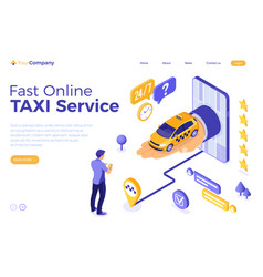 Online taxi isometric concept vector