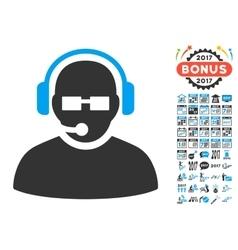 Operator Icon With 2017 Year Bonus Pictograms vector image