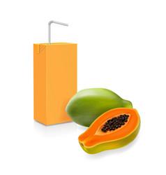 papaya fruit and juice box realistic icon vector image