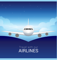 Passenger airplane in sky clouds safe flight vector