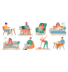 people at homes men and women relax work do vector image