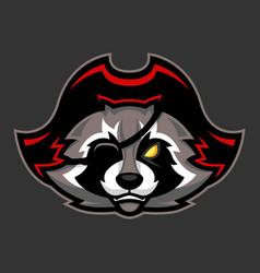 Pirate raccoon mascot sport or esports racoon vector
