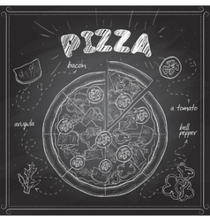 Pizza with bacon scetch on a black board vector image