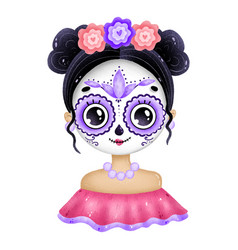 portrait a cute mexican girl with big eyes vector image