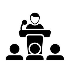 Public speaking icon male person on podium vector