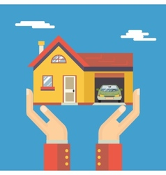 Retro Human Hands with House Real Estate Modern vector