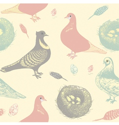 Retro Pigeons Pattern vector image
