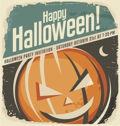 Retro poster template with Halloween pumpkin head vector image