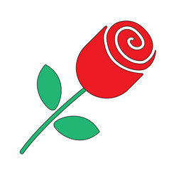 rose flower in flat style vector image