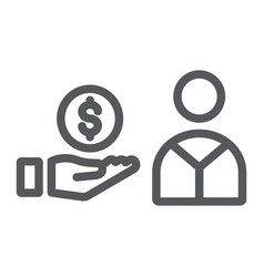 salary line icon finance and payment hand with vector image