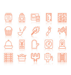 sauna equipment simple color line icons set vector image